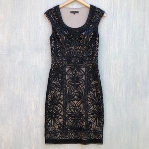 Sue Wong lace illusion sheath cocktail dress 6